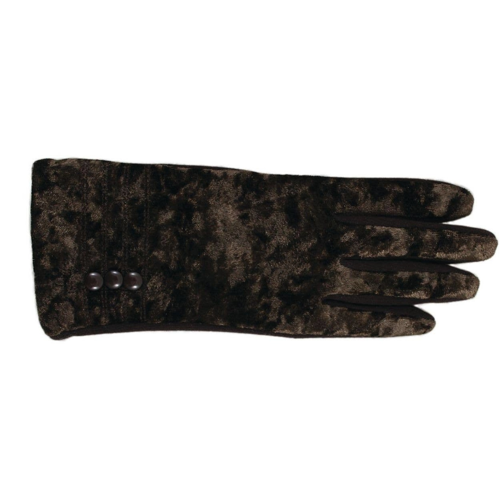 Jeanne Simmons Crushed Velvet & Jersey Texting Gloves in Brown