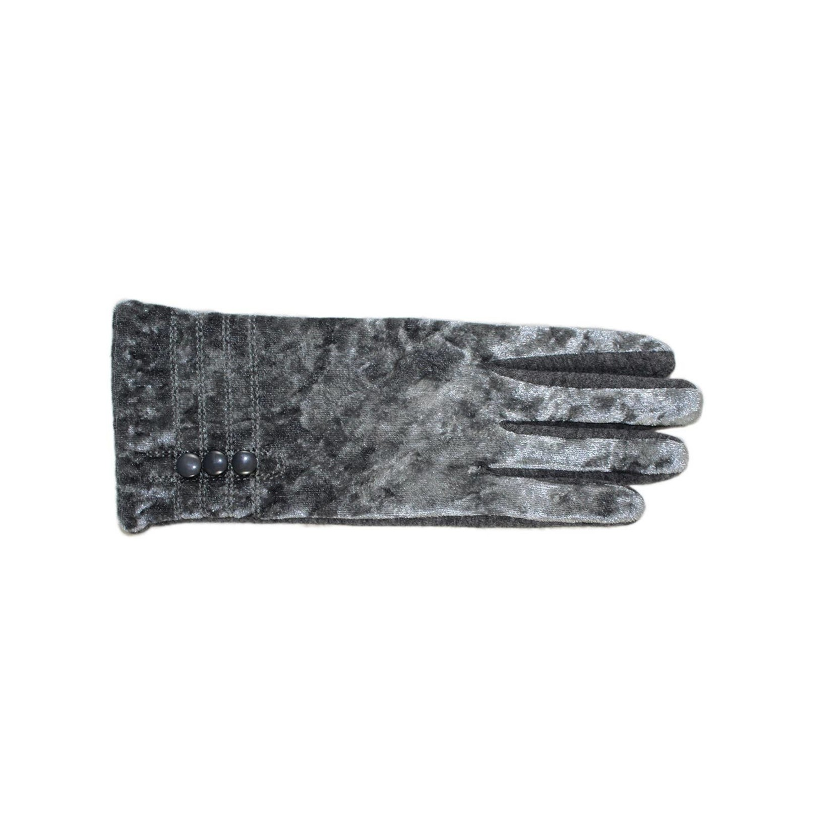 Jeanne Simmons Crushed Velvet & Jersey Texting Gloves in Gray