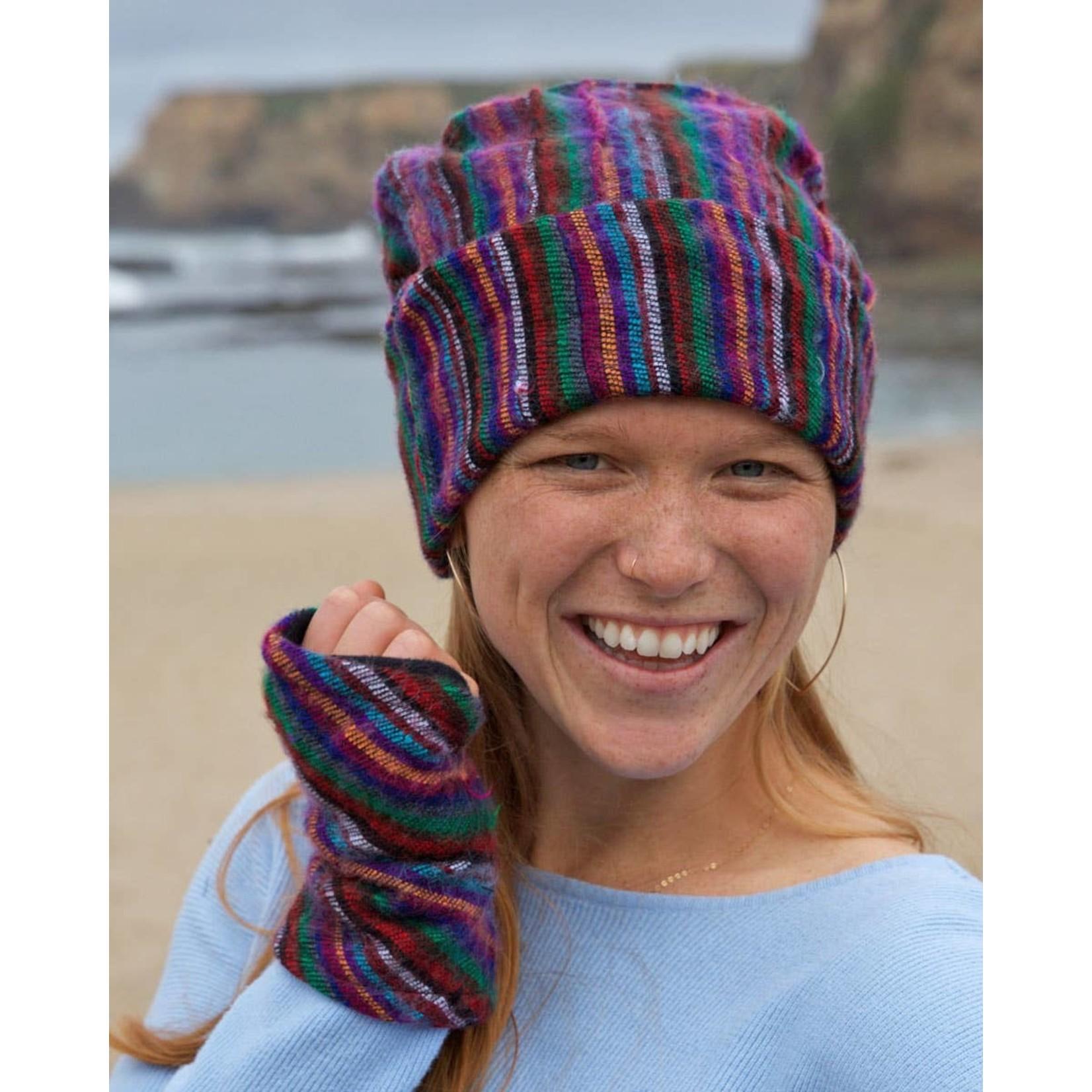 Zig Zag Asian Brushed Woven Fingerless Gloves in Multi Stripe
