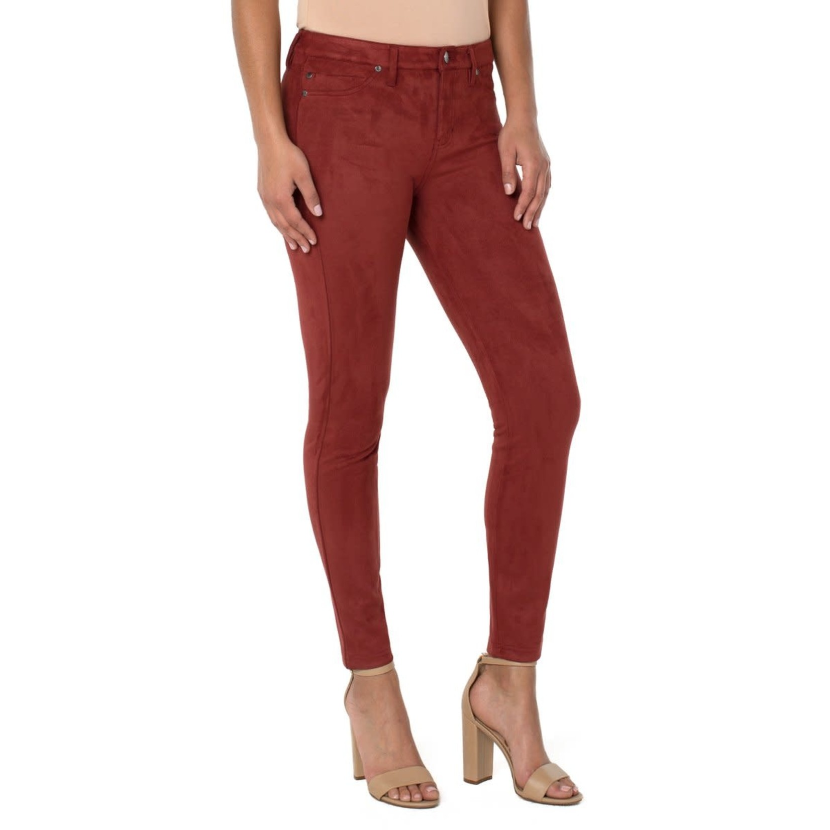 """Liverpool Madonna Faux Suede 29"""" Legging in Deep Henna"""