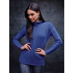 Elena Wang Modern Grid Sweater w/ Mock Neck in New Blue