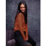 Elena Wang Modern Grid Sweater w/ Mock Neck in Cinnamon