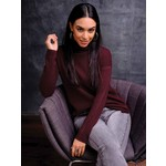 Elena Wang Modern Grid Sweater w/ Mock Neck in Burgundy
