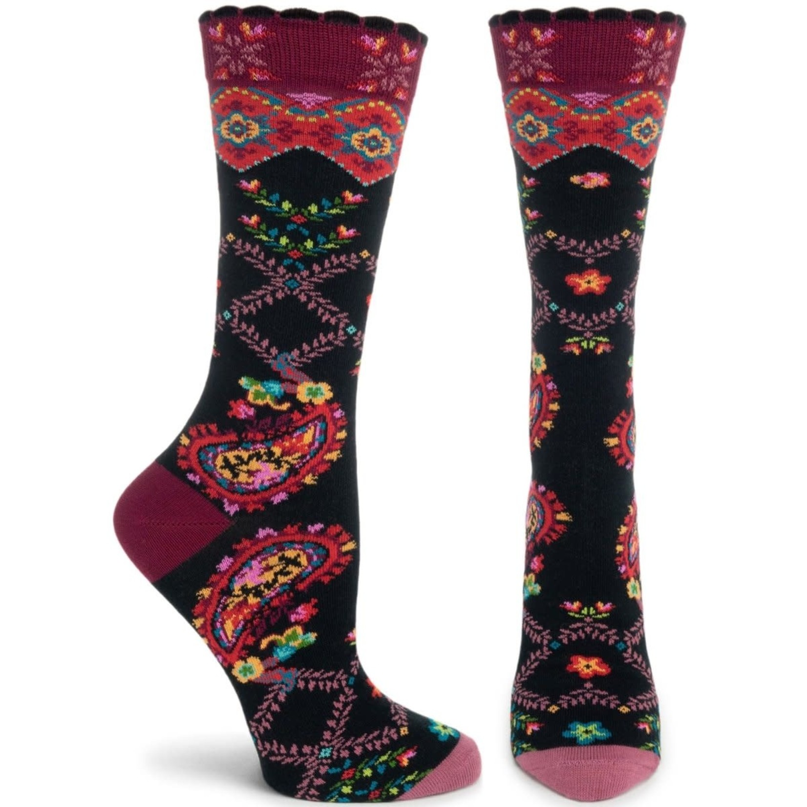 Ozone Socks Paisley Posy Socks in Black