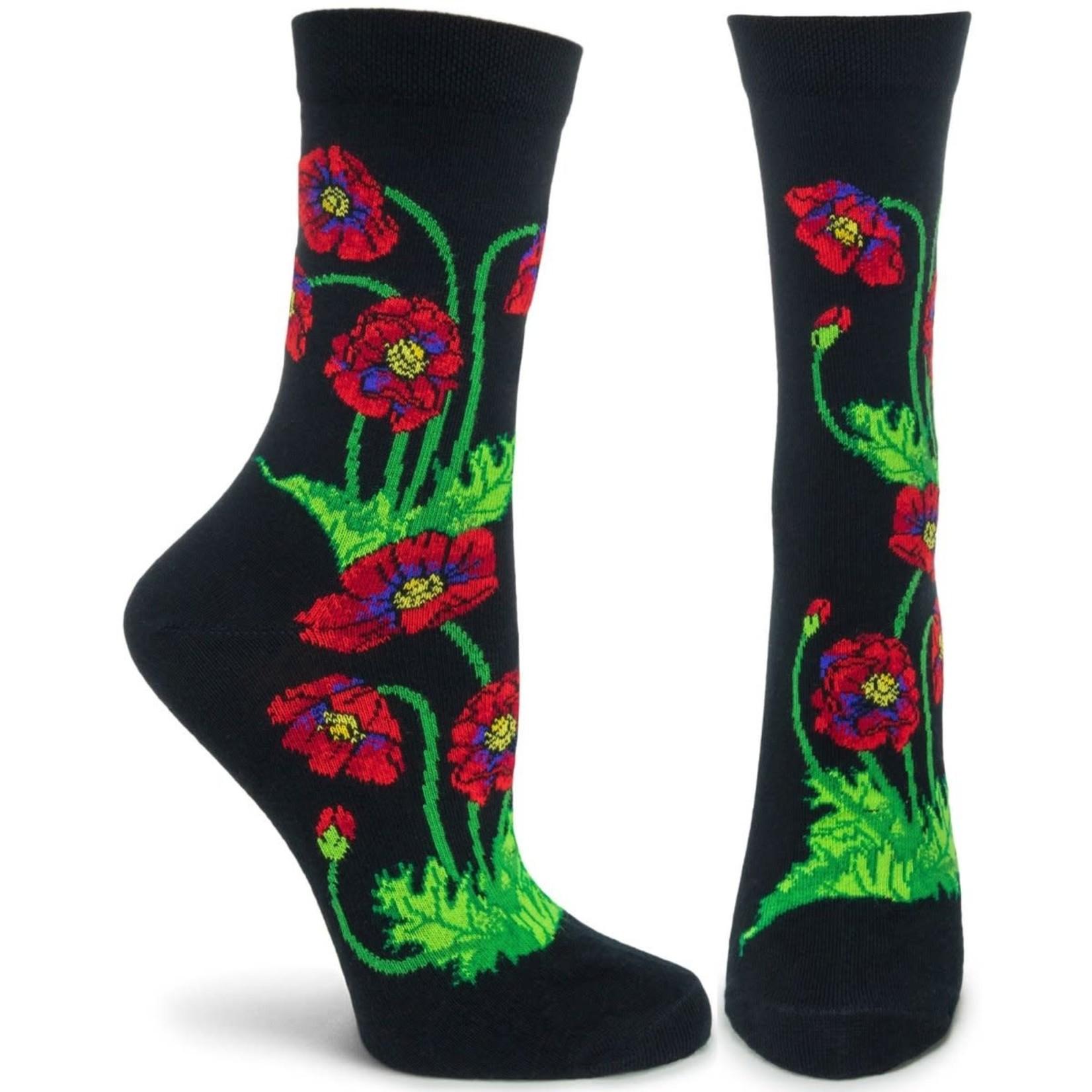 Ozone Socks Apothecary Floral Poppies Socks in Black