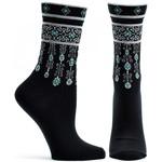 Ozone Socks Bejeweled Cuffs Socks in Black