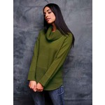Elena Wang Cowl Neck Sweater w/ Waffle Knit Detail in Chartreuse