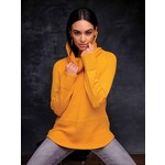 Elena Wang Cowl Neck Sweater w/ Waffle Knit Detail in Gold
