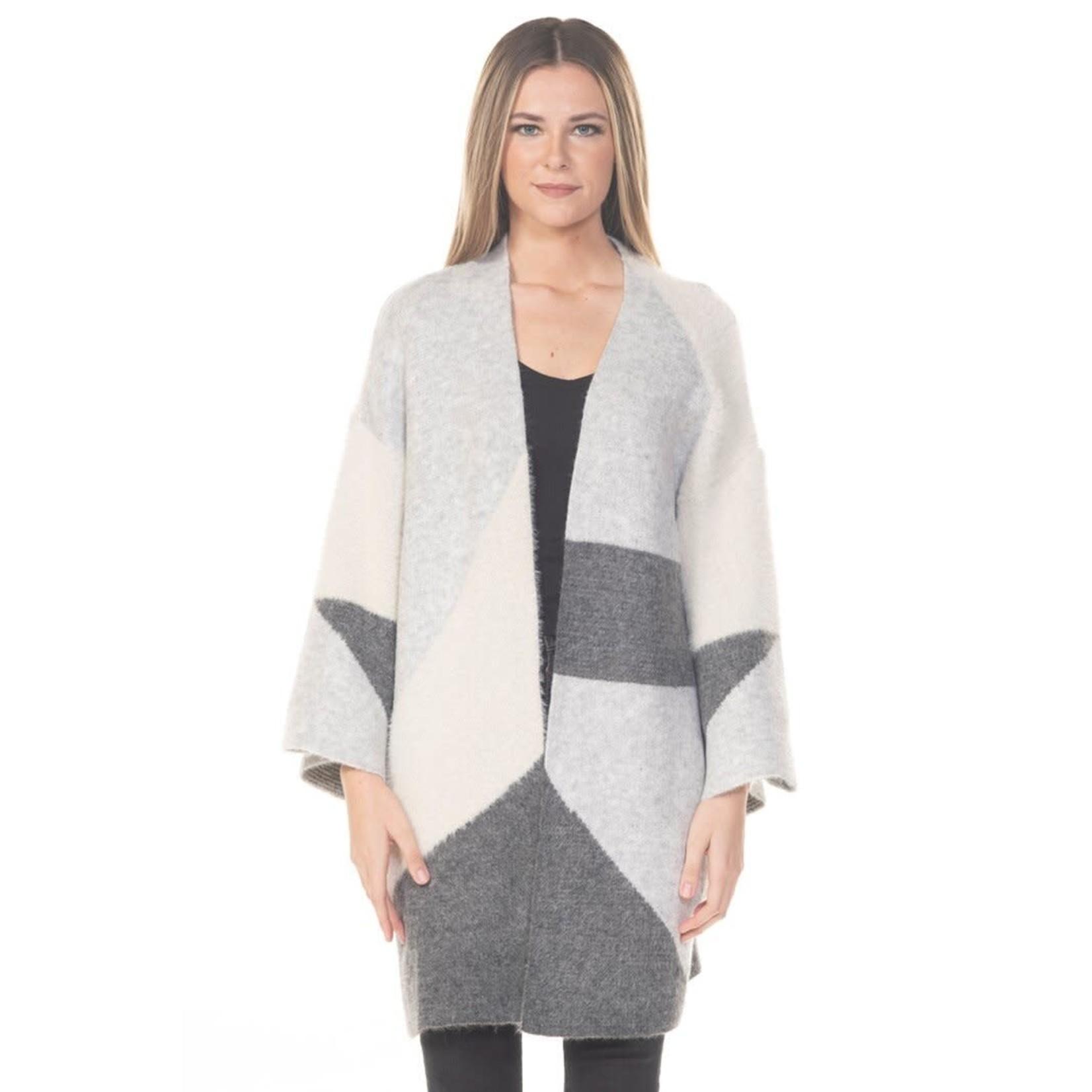Rain + Rose Color Block Long Cardigan in Greys and White