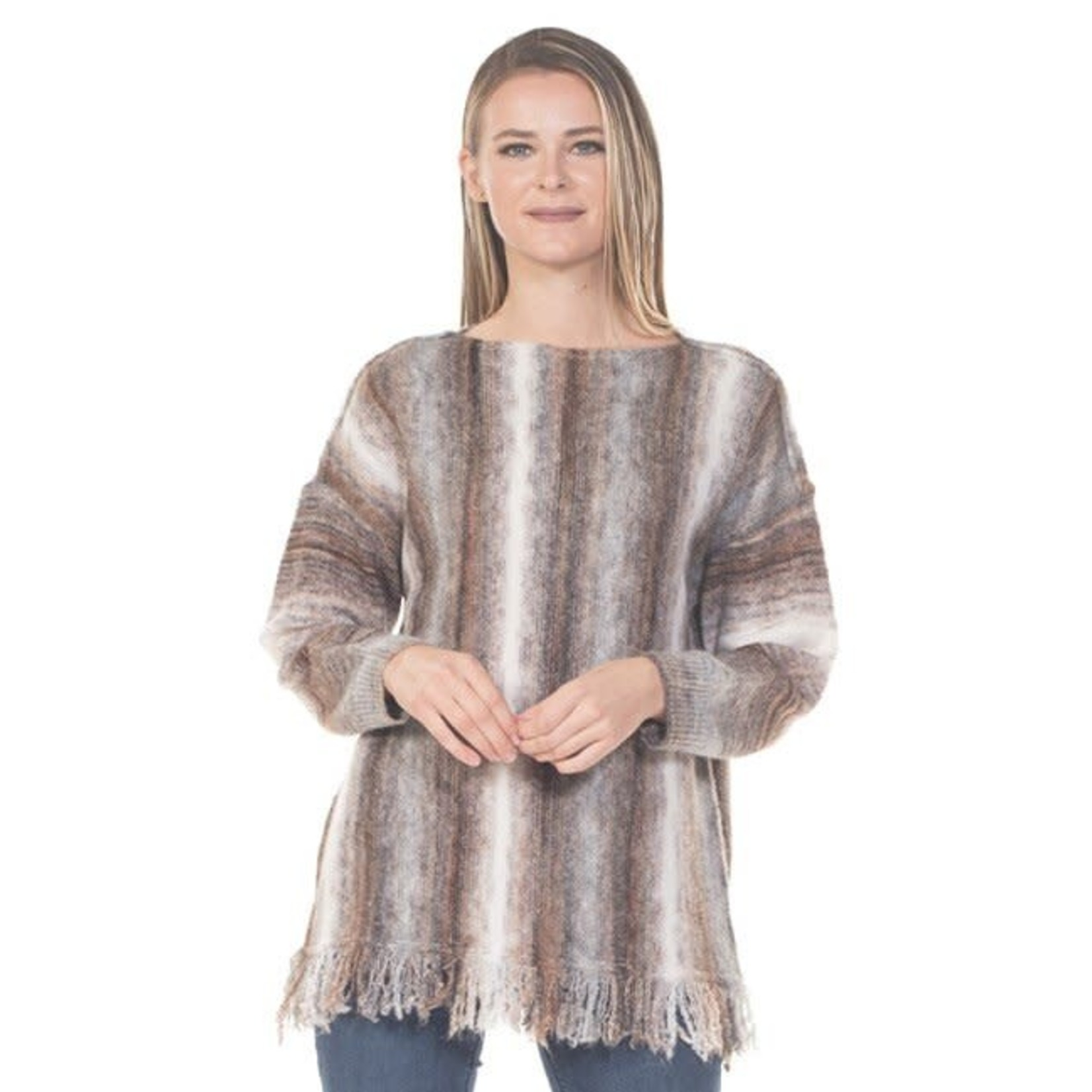 Rain + Rose Bali Bliss Fringe Pullover in Beige and Brown