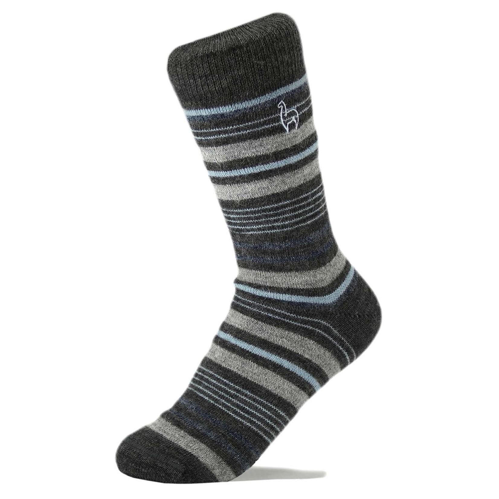 Alpaca Stripe Socks in Azul Sml