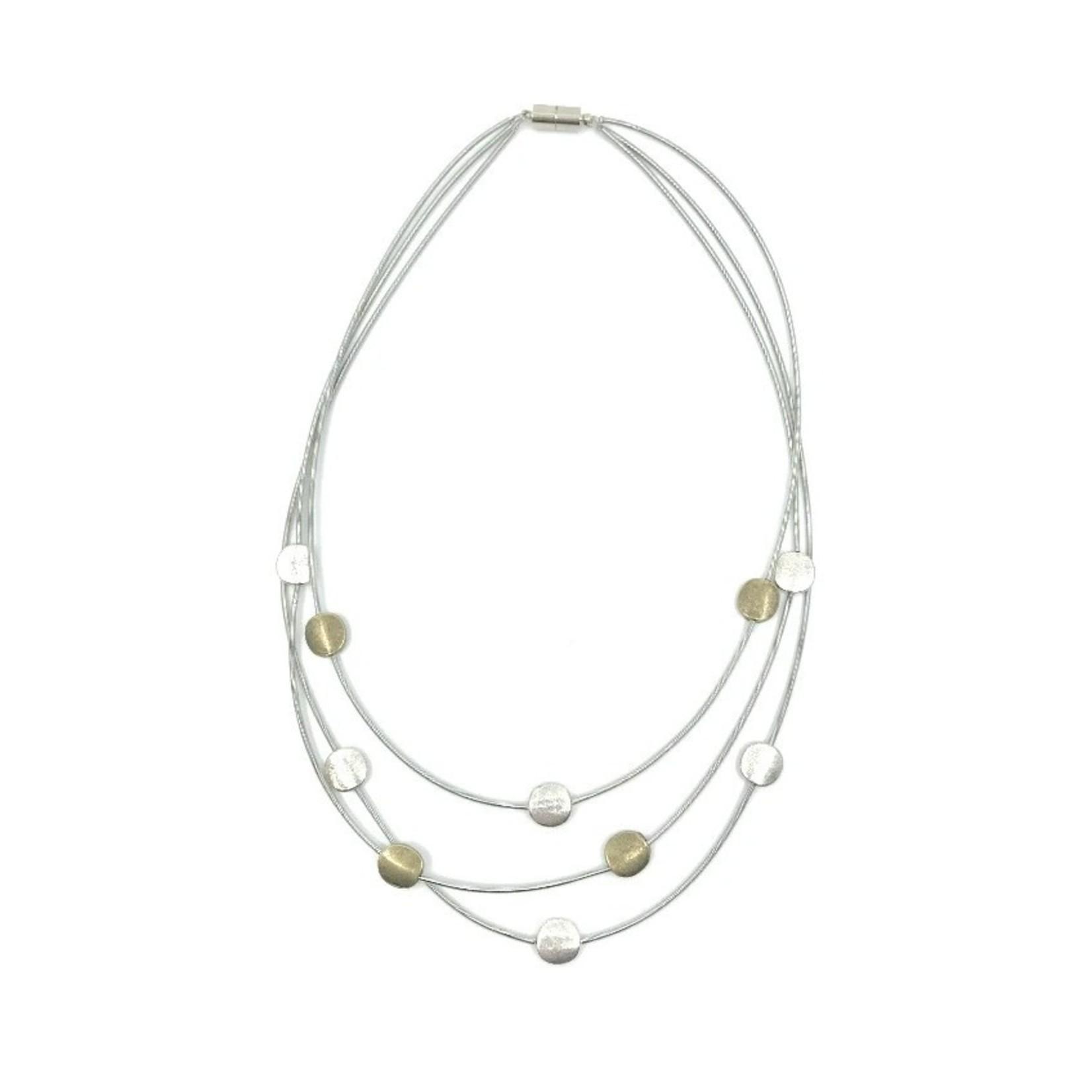 Sea Lily Silver PW 3 Strand Necklace w/ Gold/Slvr Discs