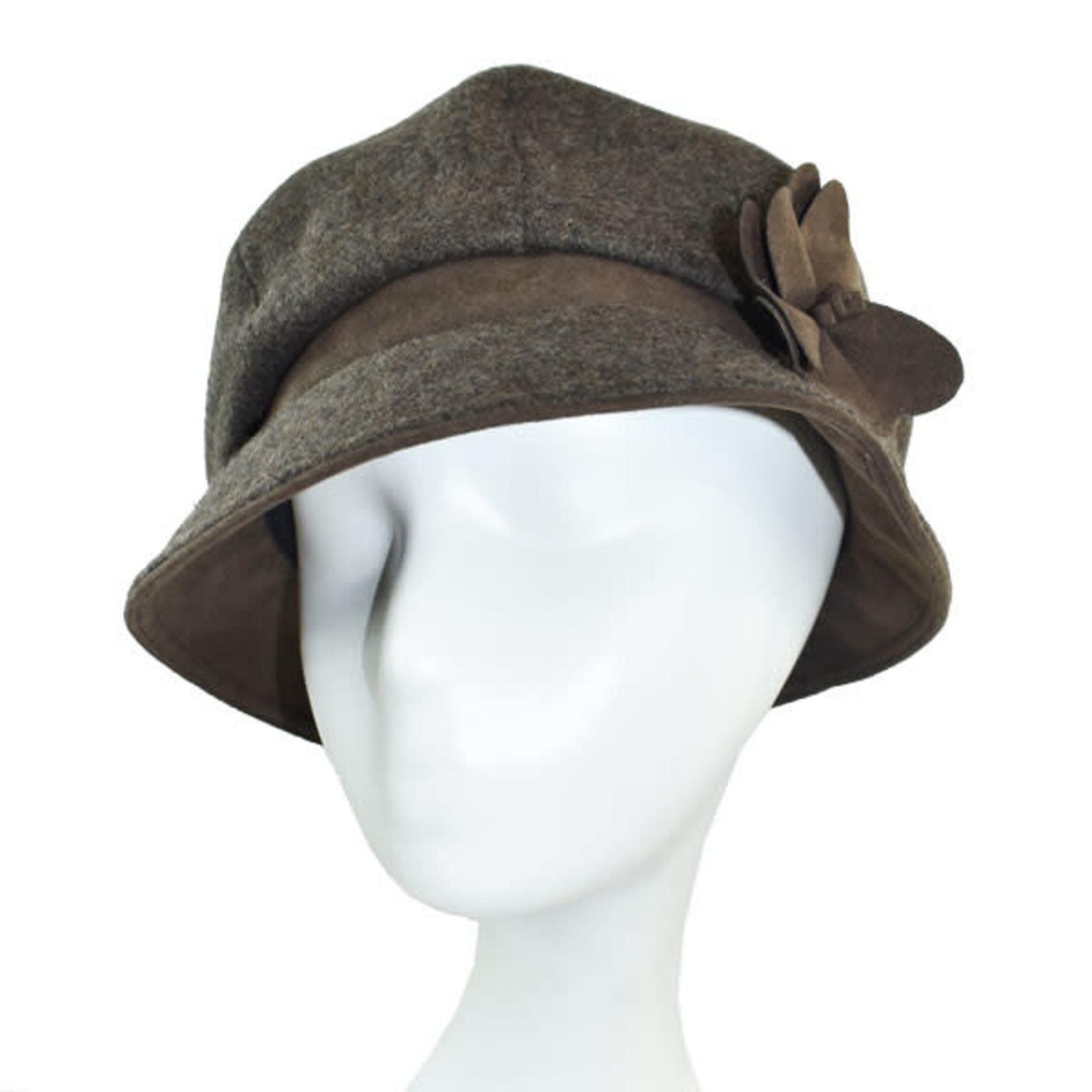 Beckett Wool Puff Hat w/ Side Flwr in Coffee