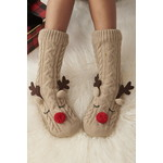 Charlie Paige Cozy Sherpa Lined Reindeer Socks/One Size