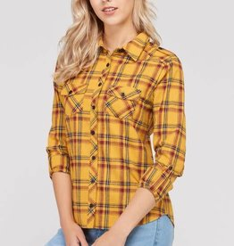 Love Tree Woven Plaid Button Up