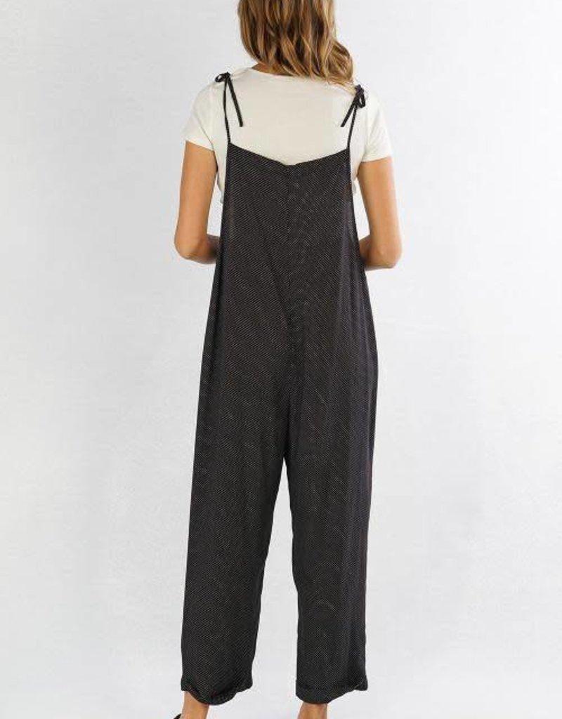 Lovestitch Mini Dot Tie Strap Jumpsuit