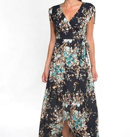 Lovestitch Floral Wrap Dress w/ Shoulder Cinch