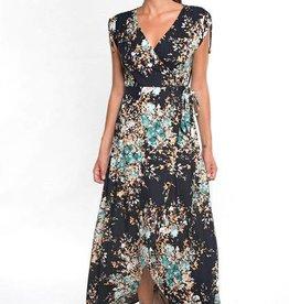 Lovestitch Floral Wrap Dress w/ Shoulder Cinch