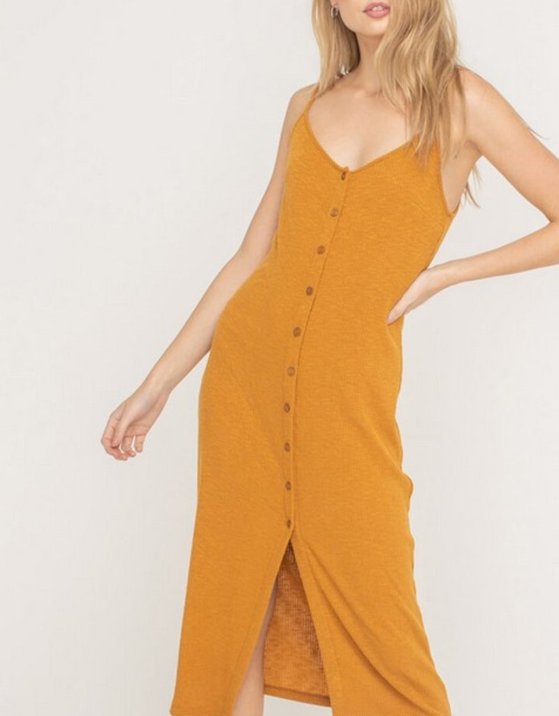 Lush Buttoned Ribbed Knit Midi Dress