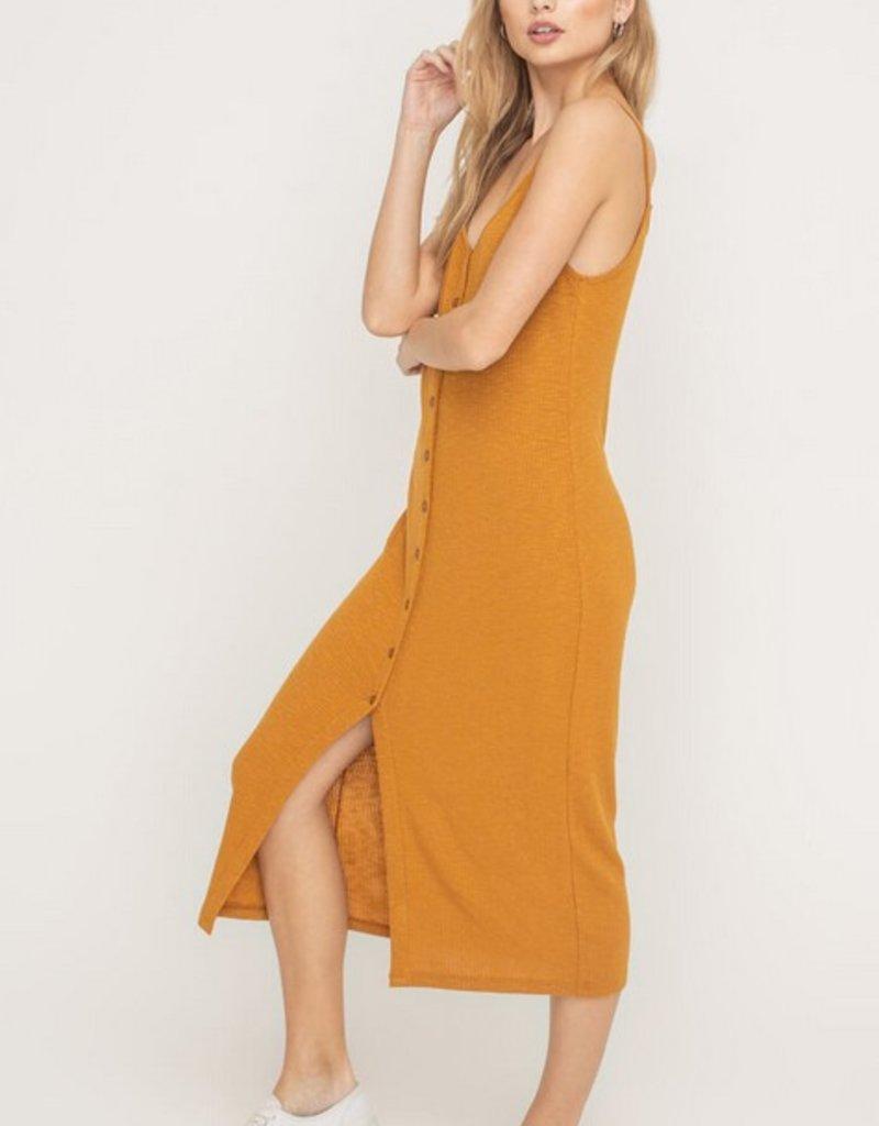 Lush Buttoned Ribbed Knit Midi Dress