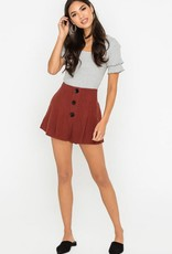 Lush Pleated Button Linen Shorts