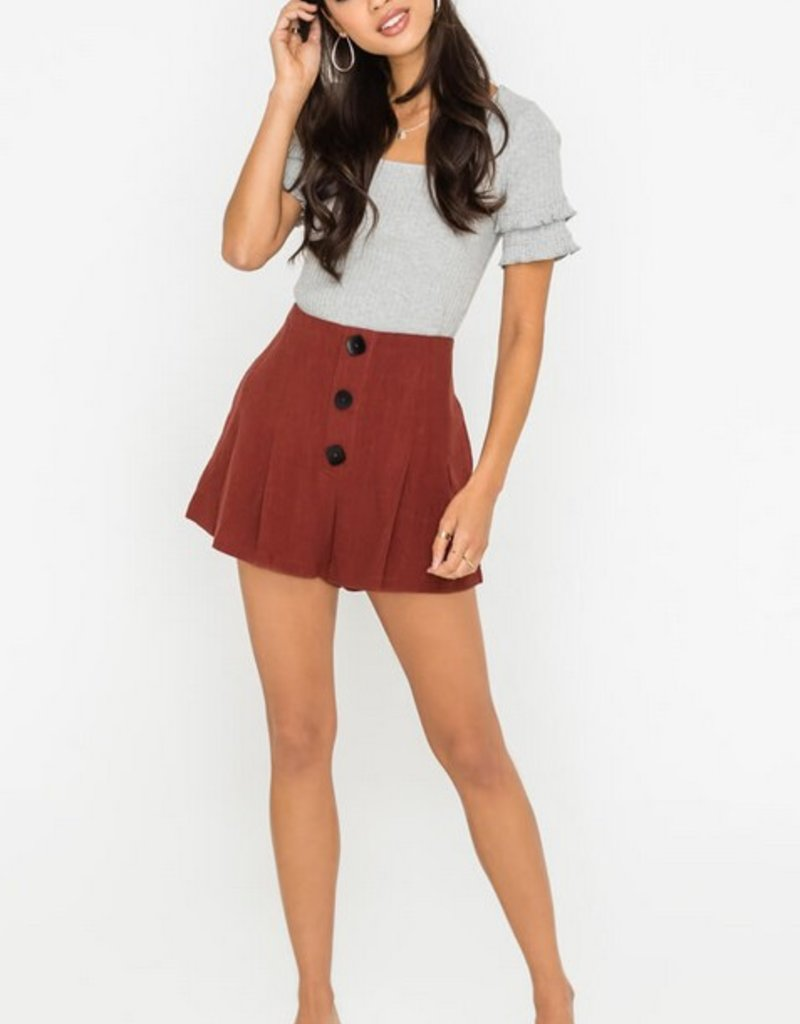 Lush Pleated Button Linen Shorts