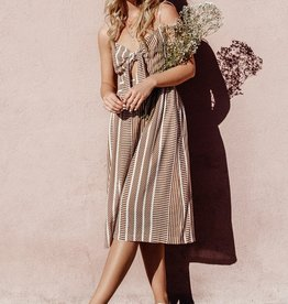 Lush Sash Tie Linen Midi Dress