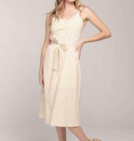Everly Belted Seer Sucker Midi Dress