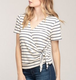 Everly Striped Terry Cloth Wrap Top