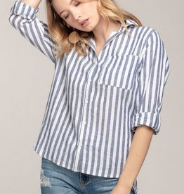Everly Striped Button Up Rolled Sleeve Top