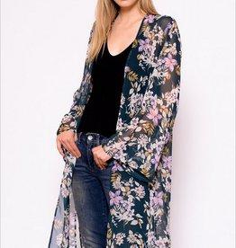 Chris & Carol Sheer Dark Floral Kimono