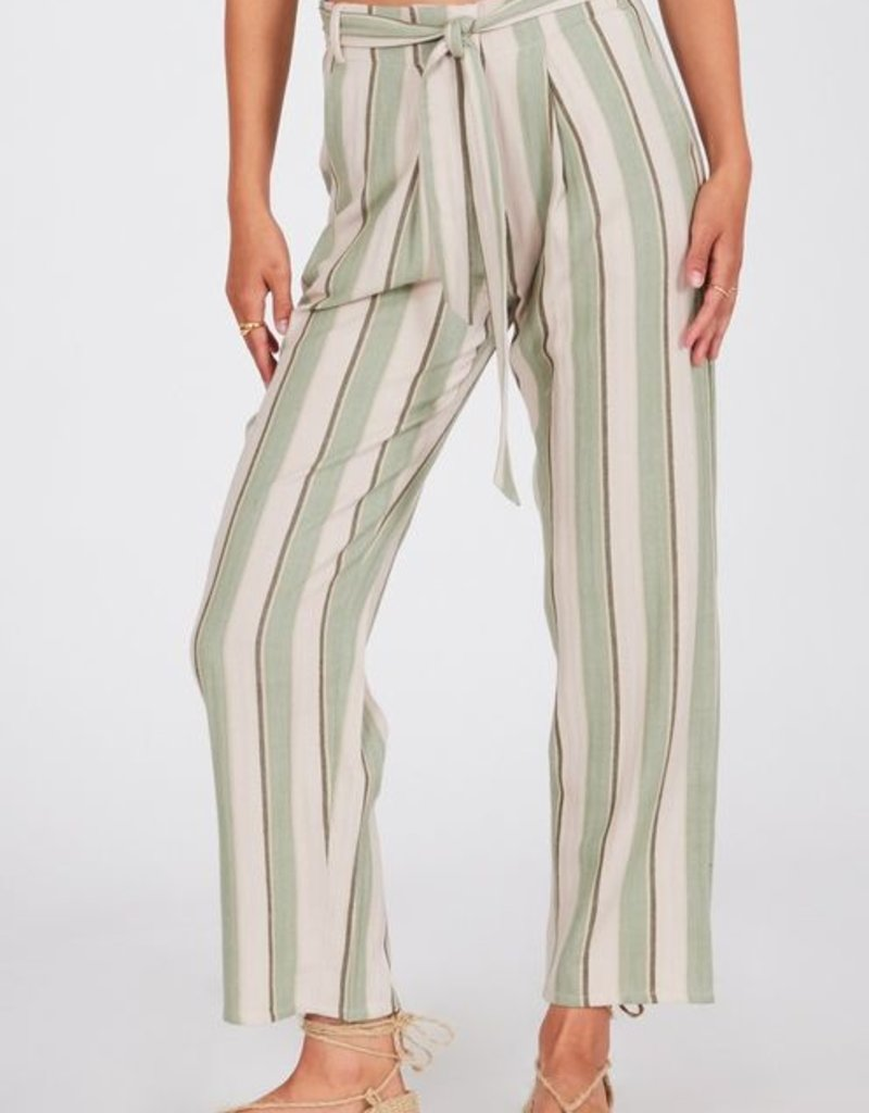 Amuse Society Striped Woven Belted Pants