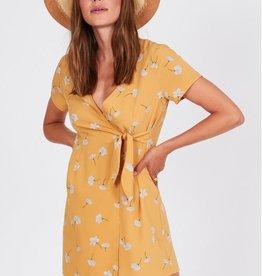 Amuse Society Short Sleeve Floral Wrap Mini Dress