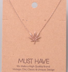 Fame Cannabis Leaf Charm Necklace