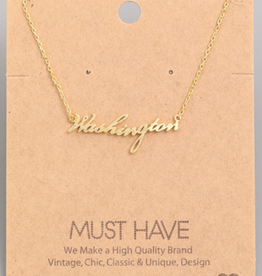 Ana Accessories/Girly Accessories Washington Script Charm Necklace