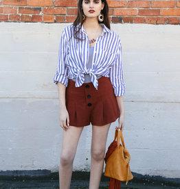 Lush Lush Pleated Button Linen Shorts