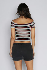 Lira Striped Off the Shoulder Crop Top