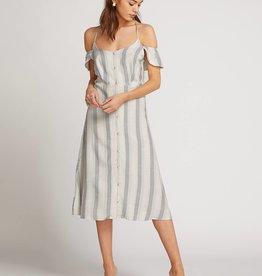 Volcom Striped Cold Shoulder Button Dress