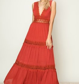 HYFVE Deep V Crochet Trim Maxi Dress