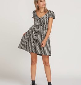 Volcom Button Up Plaid Babydoll Dress