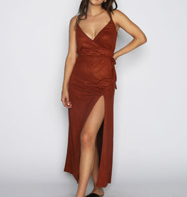 Lira Wrap Side Slit Suedette Maxi Dress