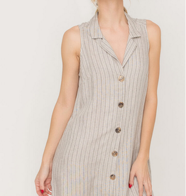 Lush Striped Sleeveless Shirt Dress