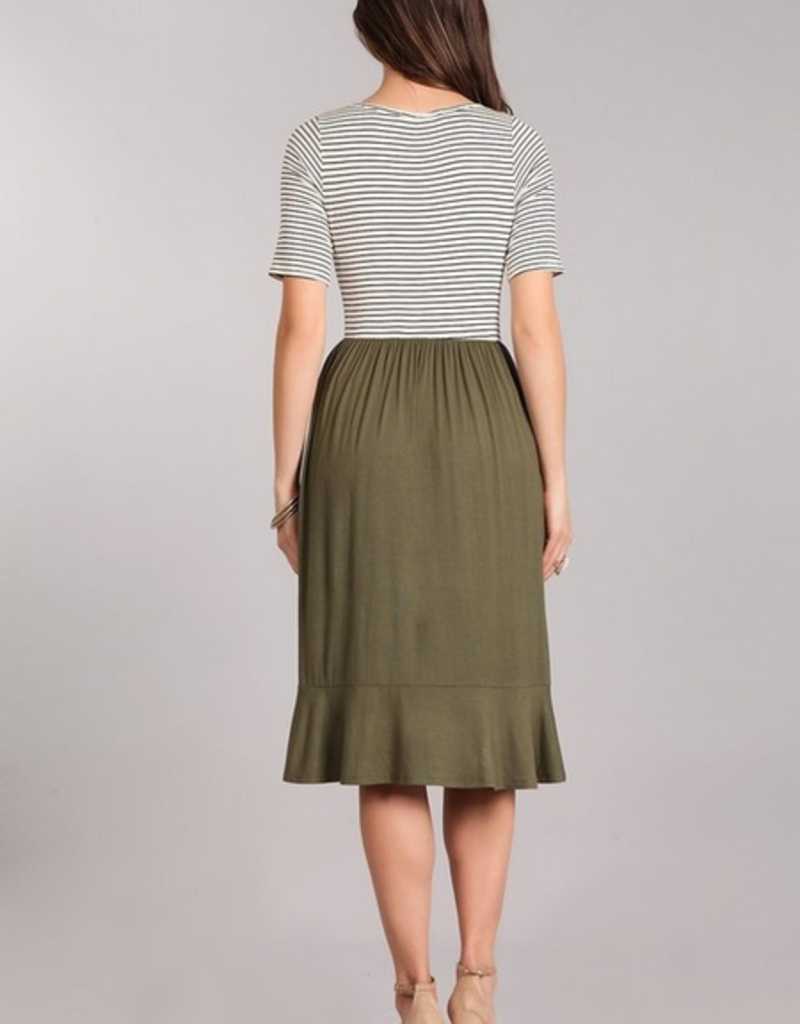 Chris & Carol Stripe & Solid Pocket Dress