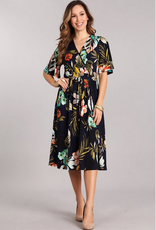 Chris & Carol Tropical Floral Wrap Dress