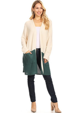 Chris & Carol Color Block Waffle Knit Cardigan
