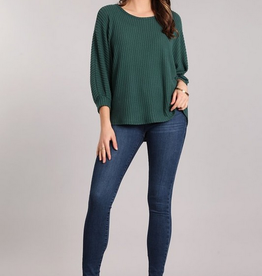 Chris & Carol 3/4 Sleeve Waffle Knit Top