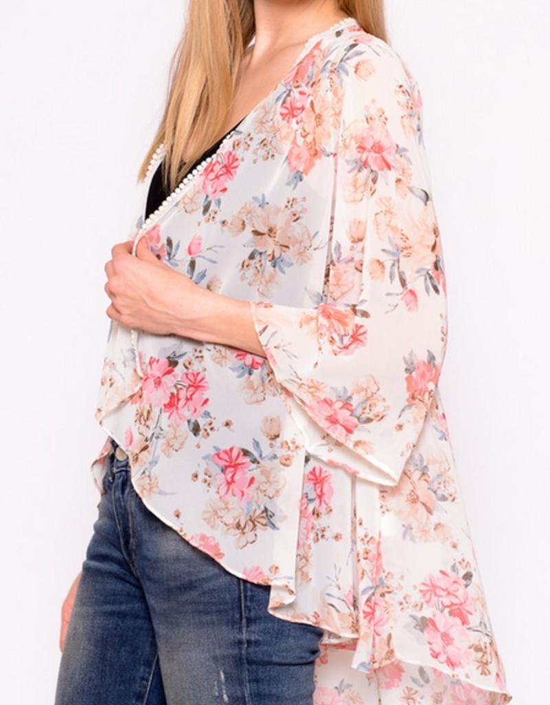 Chris & Carol Ruched Back Floral Kimono