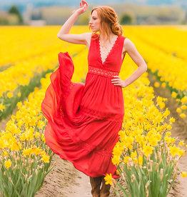 HYFVE Deep V Crochet Trim Maxi Dress