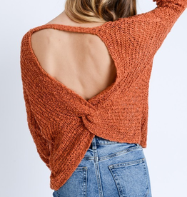 Love Tree Open Twist Back Sweater
