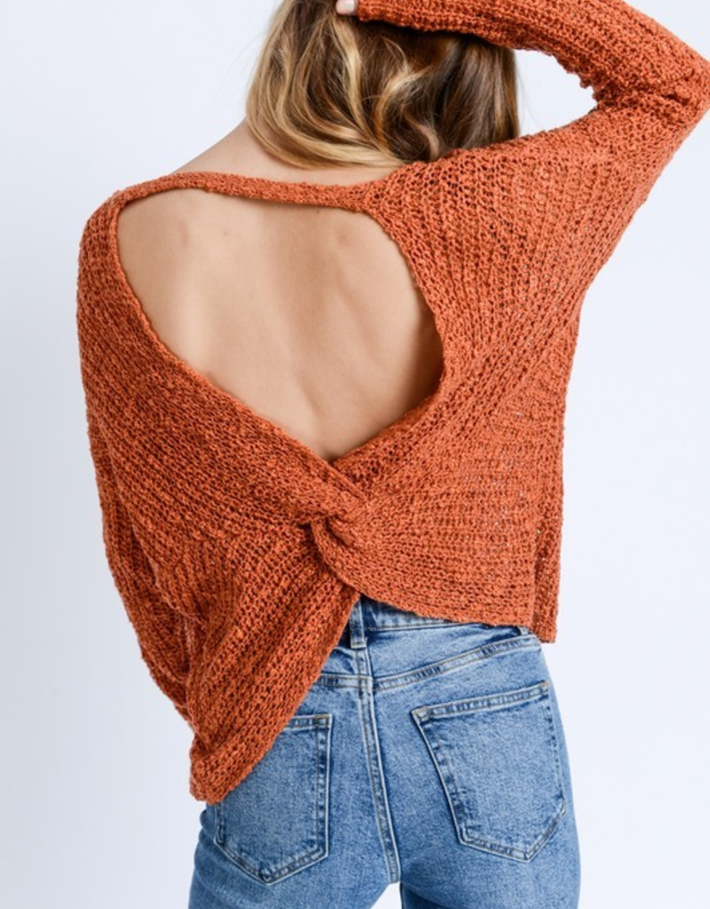 Love Tree Open Twist Back Sweater